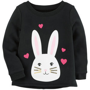 Carters Baby Girl 9 Months Bunny Pullover Black